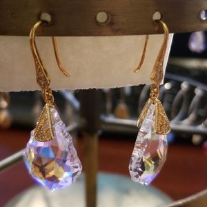 Genuine Swarovski Wedding Style Earrings, 14K Gold